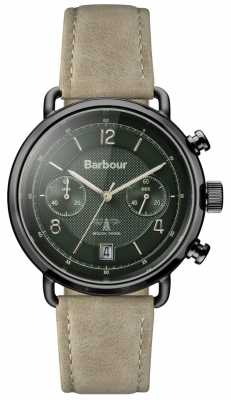 Barbour Mens Salisbury Khaki Leather Strap Green Dial BB053GRKH