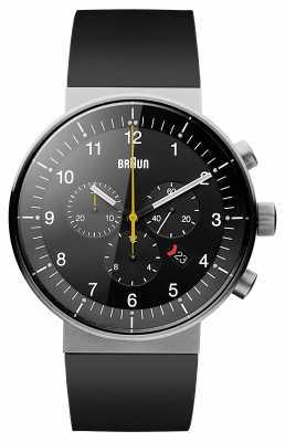 Braun Mens Prestige Chronograph Black Rubber Strap Black Dial BN0095BKSLBKG