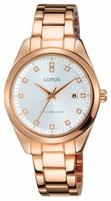 Lorus Womens Rose Gold Tone Stainless Steel Silver Dial RJ240BX9