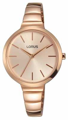 Lorus Womens Rose Gold Tone Stainless Steel Rose Gold Dial RG214LX9