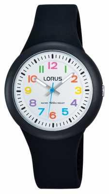 Lorus Unisex Black Rubber Strap White Dial RRX41EX9