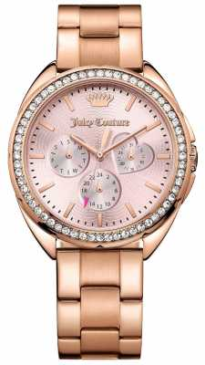 Juicy Couture Womens Capri Rose Gold Tone Stainless Steel Pink Dial 1901480