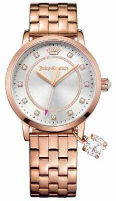 Juicy Couture Womens Socialite Rose Gold Tone Stainless Steel Silver Dial 1901476