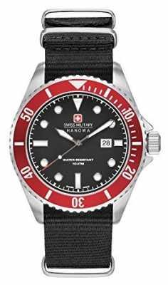 Swiss Military Hanowa Mens Sea Lion Black Nylon Strap Black Dial 6-4279.04.007.04