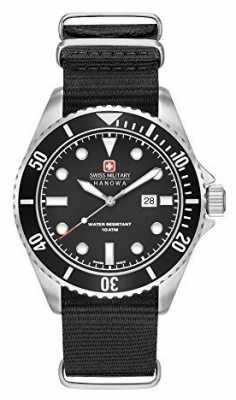 Swiss Military Hanowa Mens Sea Lion Black Nylon Strap Black Dial 6-4279.04.007.07
