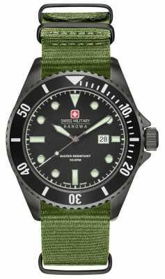 Swiss Military Hanowa Mens Sea Lion Green Nylon Strap Black Dial 6-4279.13.007
