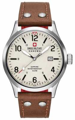 Swiss Military Hanowa Mens Undercover Brown Leather Strap Cream Dial 6-4280.04.002.05