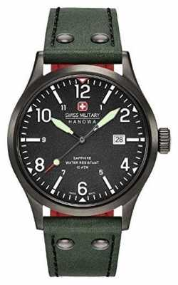 Swiss Military Hanowa Mens Undercover Green Leather Strap Black Dial 6-4280.13.007.06