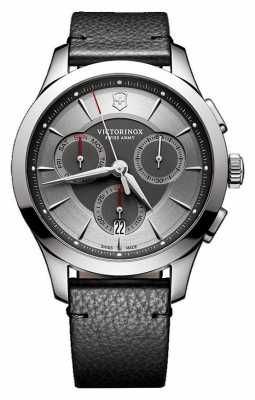 Victorinox Swiss Army Mens Alliance Chronograph Black Leather Strap Grey Dial 241748