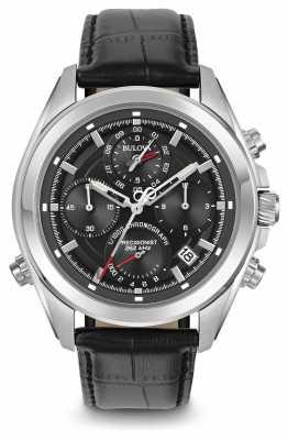 Bulova Mens Precisionist Chronograph Black Leather Strap Black Dial 96B259