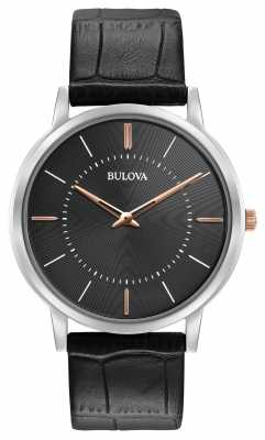 Bulova Mens Ultra Slim Black Leather Strap Black Dial 98A167