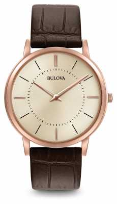 Bulova Mens Ultra Slim Brown Leather Strap 97A126