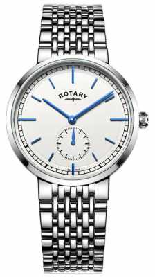 Rotary Mens Canterbury Stainless Steel Bracelet White Dial GB05060/02