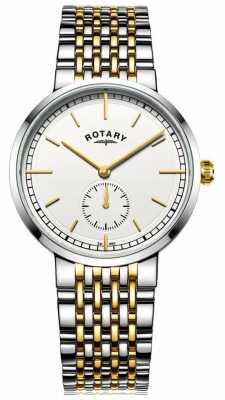 Rotary Mens Canterbury Two Tone Bracelet White Dial GB05061/02