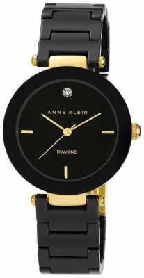 Anne Klein Womens Black Ceramic Strap Black Dial AK/N1018BKBK