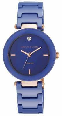 Anne Klein Womens Blue Ceramic Strap Blue Dial AK/N1018RGCB