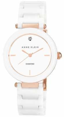 Anne Klein Womens White Ceramic Strap White Dial AK/N1018RGWT