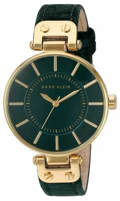 Anne Klein Womens Green Leather Strap Green Dial AK/N2218GPGN