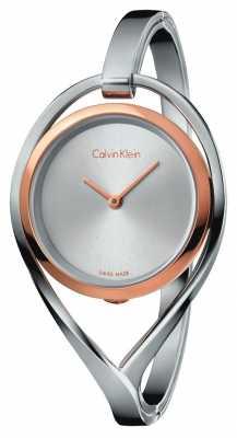 Calvin Klein Womens Light Medium Stainless Steel Bangle Rose Gold Case K6L2MB16