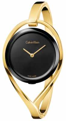 Calvin Klein Womens Light Medium Gold Tone Bangle Black Dial K6L2M411