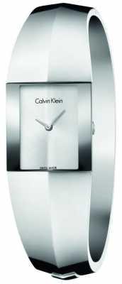 Calvin Klein Womens Shape Medium Stainless Steel Bangle Silver Dial K7C2M116