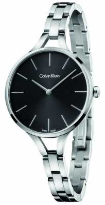 Calvin Klein Womens Graphic Stainless Steel Bracelet Silver Dial K7E23146