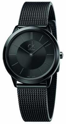 Calvin Klein Womens Minimal Black Mesh Strap Black Dial K3M224B1
