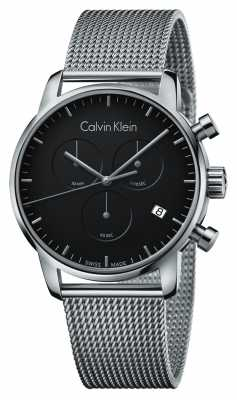 Calvin Klein Mens City Chronograph Stainless Steel Black Dial K2G27121
