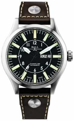 Ball Mens Engineer Master II Company Aviator Automatic Leather NM1080C-L3-BK
