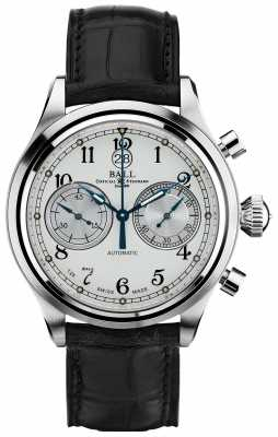Ball Watch Company Trainmaster Canonball Automatic Chronograph Crockodile Strap CM1052D-L3J-WH