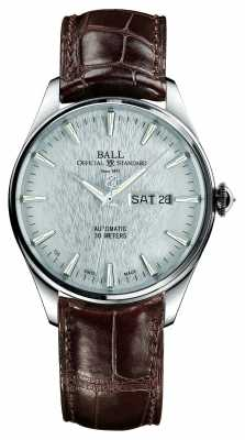 Ball Trainmaster Eternity Automatic Crockodile Strap Silver Dial NM2080D-LJ-SL