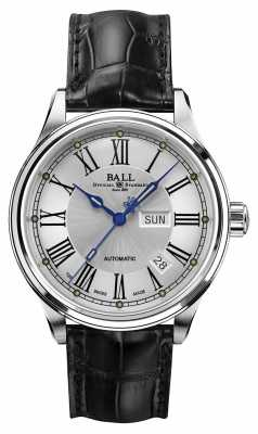 Ball Trainmaster Roman Automatic Crockodile Strap White Dial NM1058D-L4J-WH