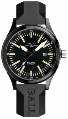 Ball Fireman Night Train Automatic Rubber Strap Black Dial NM2092C-P-BK