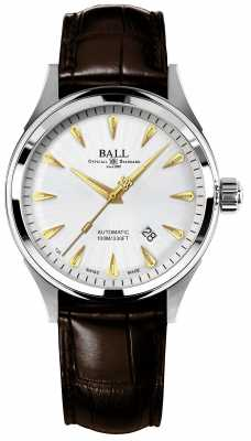 Ball Fireman Racer Classic Automatic Crockodile Strap Silver Dial NM2288C-LJ-SL