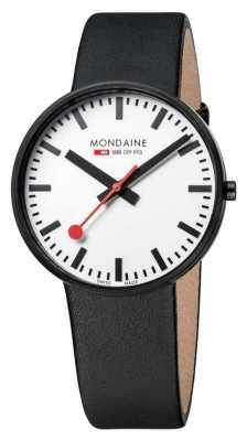 Mondaine Mens Giant Black Leather Strap White Dial A660.30328.61SBB