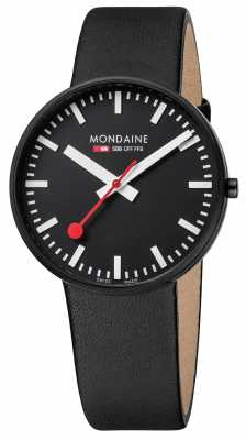 Mondaine Mens Giant Black Leather Strap Black Dial A660.30328.64SBB