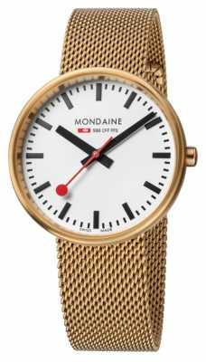 Mondaine Mens Mini Giant Gold Tone Mesh White Dial A763.30362.21SBM