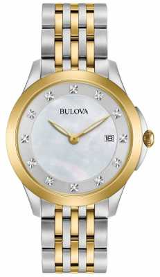 Bulova Womans Gold Plated Two Tone Diamond 98S161