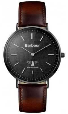 Barbour Mens Hartley Black Dial Brown Leather Strap BB055BKBR