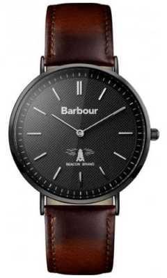 Barbour Mens Hartley Black Dial Brown Leather Strap BB055BKBR