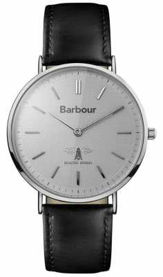 Barbour Mens Hartley Grey Dial Black Leather Strap BB055SLBK