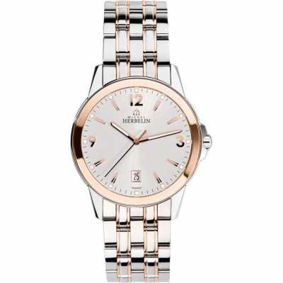 Michel Herbelin Mens Ambassador Rose Gold PVD Bracelet Watch 12250/BTR12