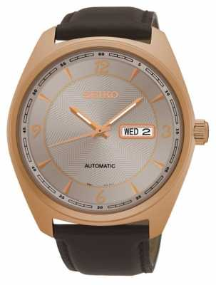 Seiko Mens Automatic Brown Leather Rose Dial SNKN72P9