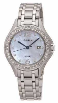 Seiko Womens Solar Stainless Steel Mother Of Pearl Dial SUT311P9