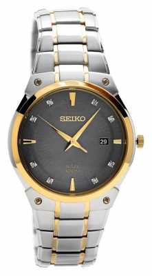 Seiko Mens Solar Stainless Steel Grey Dial SNE430P9