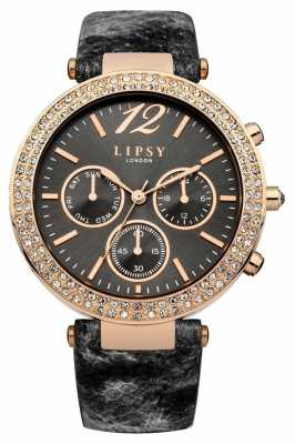 Lipsy Womans Black Grey Leather Strap Chronograph LP451