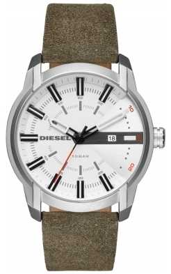 Diesel Mens Armbar Green Leather Strap White Dial DZ1781