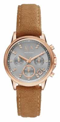 Armani Exchange Womens Chronograph Rose Gold PVD Case Brown Leather AX4338