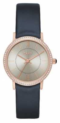 DKNY Womens Blue Leather Strap Stone Set Bezel NY2553