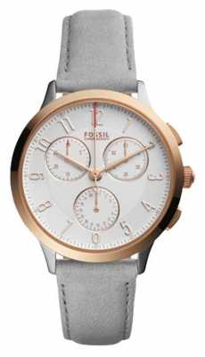 Fossil Womens Grey Leather Strap Chronograph CH3071